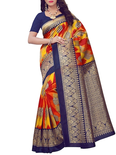Contrast bordered printed saree with blouse - 15410882 - Standard Image - 1