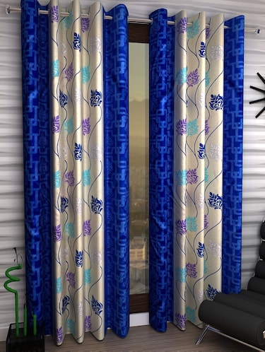 Set of 2 Window Semi-Transparent Eyelet Polyester Curtains - 15410989 - Standard Image - 1