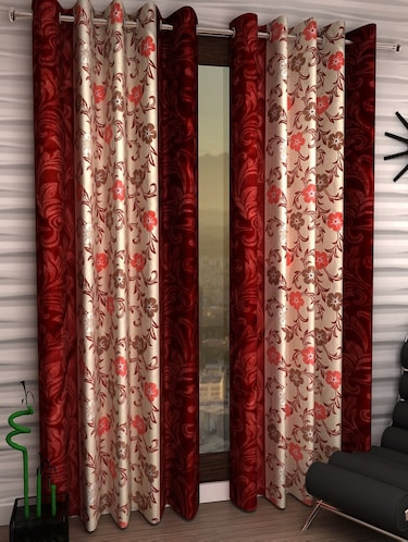 Set of 2 Door Semi-Transparent Eyelet Polyester Curtains - 15411008 - Standard Image - 1