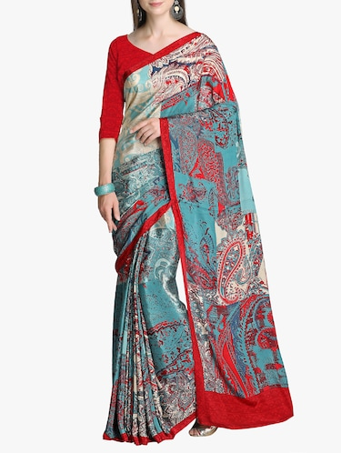 paisley printed crepe saree with blouse - 15411020 - Standard Image - 1