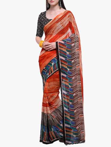 geometrical printed georgette saree with blouse - 15411026 - Standard Image - 1