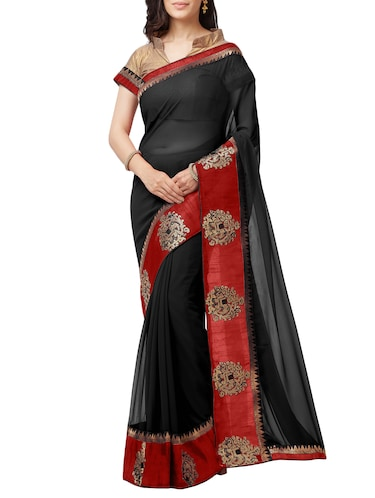 embroidered lace border saree with blouse - 15411067 - Standard Image - 1