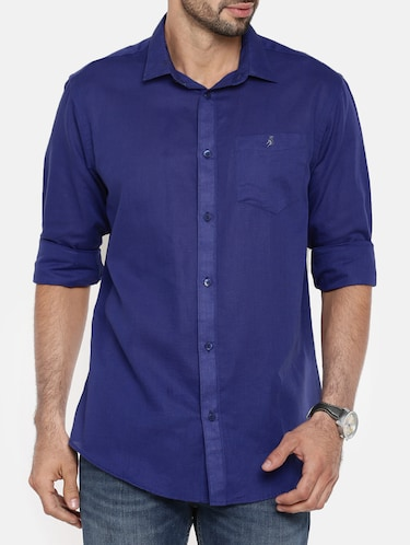 dark blue cotton linen casual shirt - 15411216 - Standard Image - 1