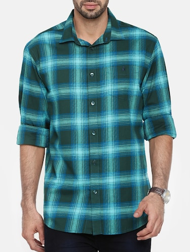 green cotton casual shirt - 15411218 - Standard Image - 1