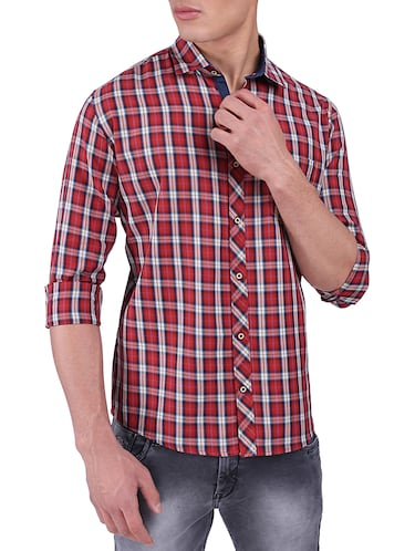 red cotton casual shirt - 15411403 - Standard Image - 1