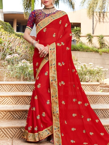 Delicate golden border embroidered saree with blouse - 15411726 - Standard Image - 1