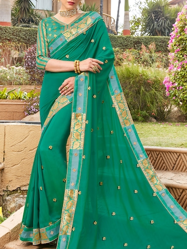 Delicate golden embroidered saree with blouse - 15411730 - Standard Image - 1