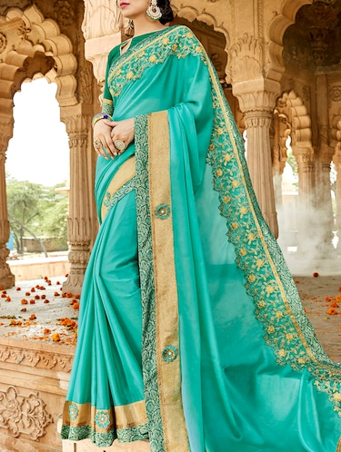 Embroidered bordered saree with blouse - 15411755 - Standard Image - 1