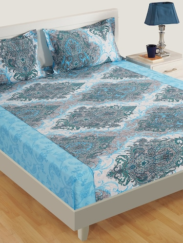 160 TC Motifs Print Cotton Single Bed Sheet with 1 Pillow Cover - 15411856 - Standard Image - 1