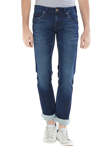 blue cotton washed jeans - 15412036 - Standard Image - 1
