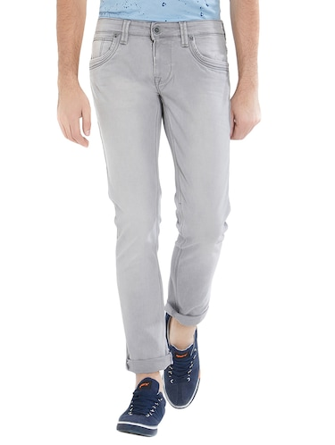 grey cotton washed jeans - 15412043 - Standard Image - 1