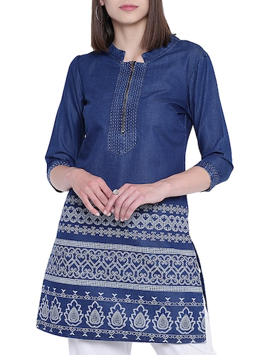 denim straight kurta - 15412238 - Standard Image - 1
