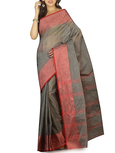 contrast jacquard border tant saree with blouse - 15412335 - Standard Image - 1