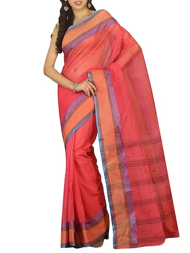 contrast jacquard border tant saree with blouse - 15412337 - Standard Image - 1