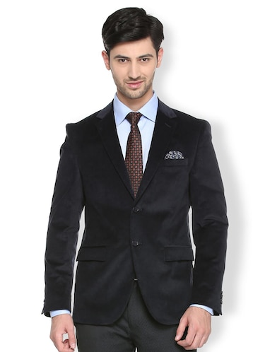 black cotton blend single breasted blazer - 15412820 - Standard Image - 1