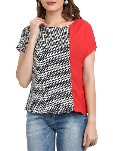 Printed round neck top - 15412848 - Standard Image - 1