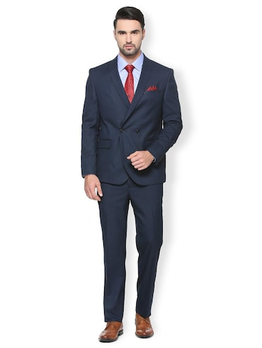 blue polyester blend double breasted  suit - 15413072 - Standard Image - 1
