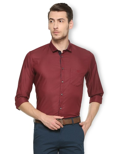 maroon cotton blend formal shirt - 15413115 - Standard Image - 1