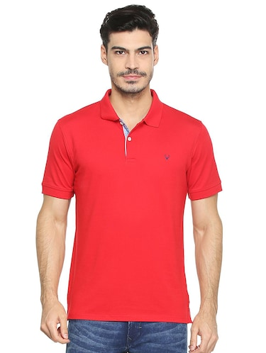 red cotton blend polo t-shirt - 15413146 - Standard Image - 1
