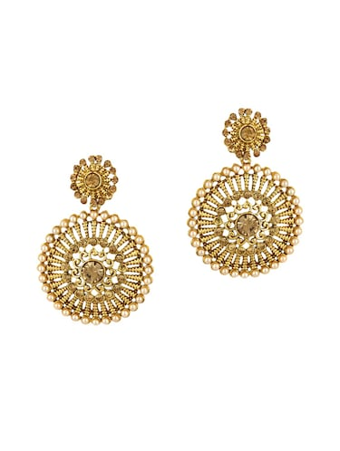 gold zinc drop earrings - 15413219 - Standard Image - 1