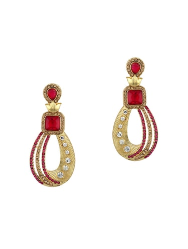 Pink Gold Tone Stone Earrings - 15413294 - Standard Image - 1