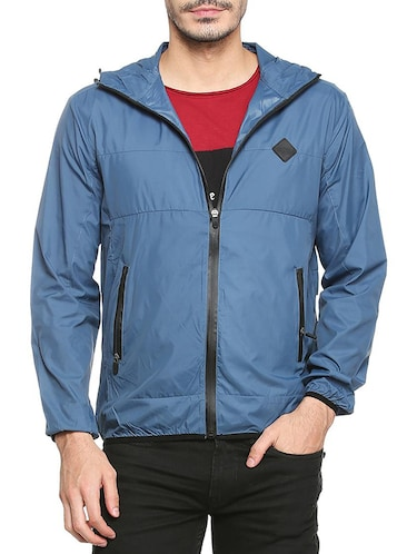 blue polyester casual jacket - 15413311 - Standard Image - 1