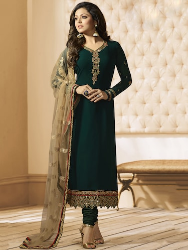 zari embellished semi-stitched churidar suit - 15413318 - Standard Image - 1