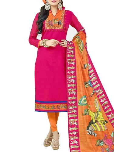 Printed yoke unstitched churidaar suit - 15413327 - Standard Image - 1