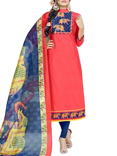 Printed yoke unstitched churidaar suit - 15413329 - Standard Image - 1