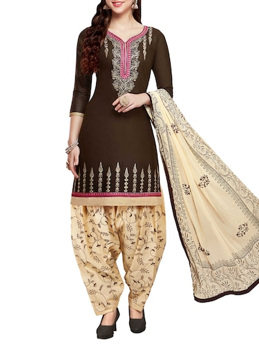 Embroidered semi-stitched salwar suit - 15413352 - Standard Image - 1