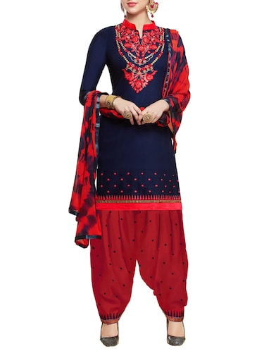 Embroidered semi-stitched salwar suit - 15413355 - Standard Image - 1