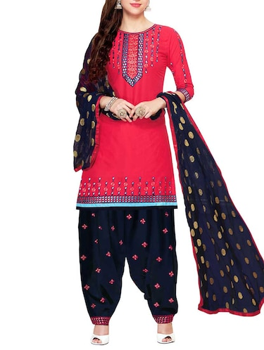 Embroidered semi-stitched salwar suit - 15413358 - Standard Image - 1