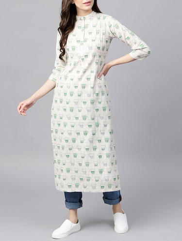 Pintucks straight quirky kurta - 15413452 - Standard Image - 1