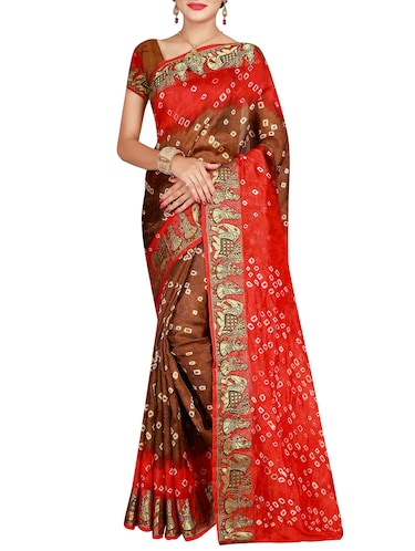 Delicate zari bordered bandhani saree with blouse - 15413667 - Standard Image - 1