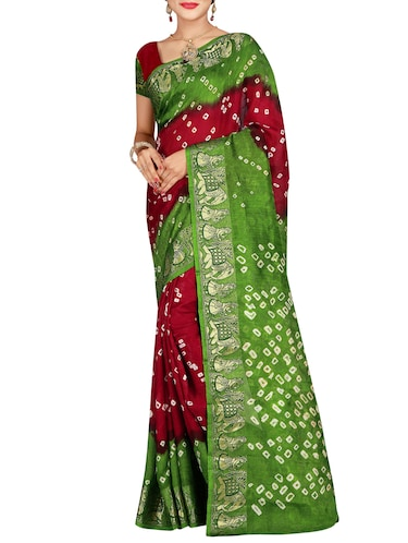 Delicate zari bordered bandhani saree with blouse - 15413671 - Standard Image - 1