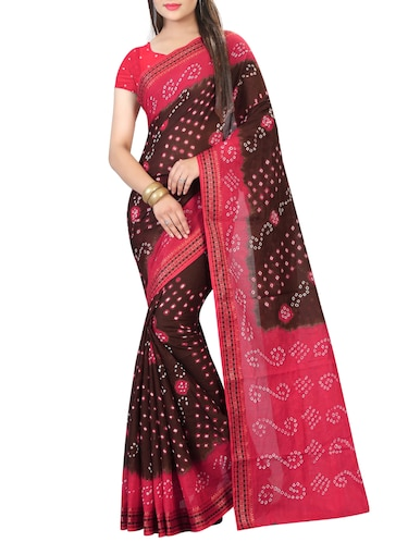 Contrast bordered bandhani saree with blouse - 15413697 - Standard Image - 1