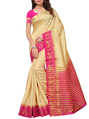 Contrast bordered tussar silk saree with blouse - 15413838 - Standard Image - 1