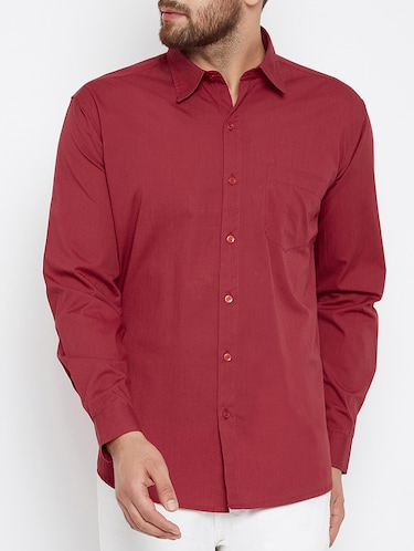 red cotton casual shirt - 15414002 - Standard Image - 1