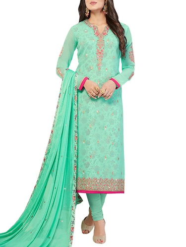 Embroidered semi-stitched churidaar suit - 15414030 - Standard Image - 1