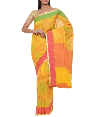 contrast border embroidered chanderi saeee with blouse - 15414041 - Standard Image - 1