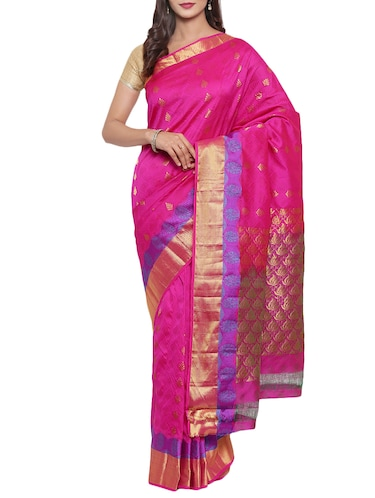golden zari butta woven saree with blouse - 15414054 - Standard Image - 1