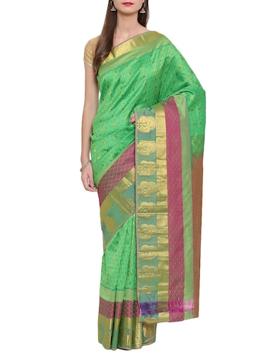 contrast zari border woven saree with blouse - 15414058 - Standard Image - 1