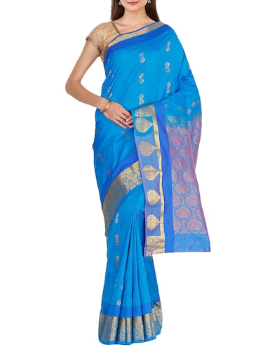 golden zari butta kanjivaram saree with blouse - 15414082 - Standard Image - 1