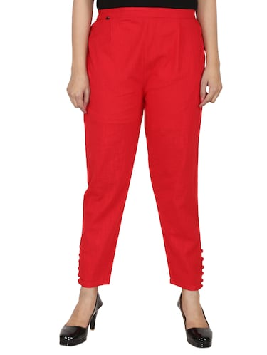 button detail pleated trouser - 15414327 - Standard Image - 1