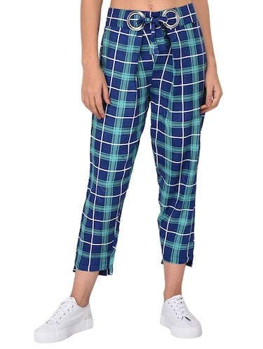 Checkered high-rise trouser - 15414329 - Standard Image - 1