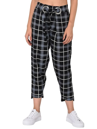 Checkered high-rise trouser - 15414330 - Standard Image - 1