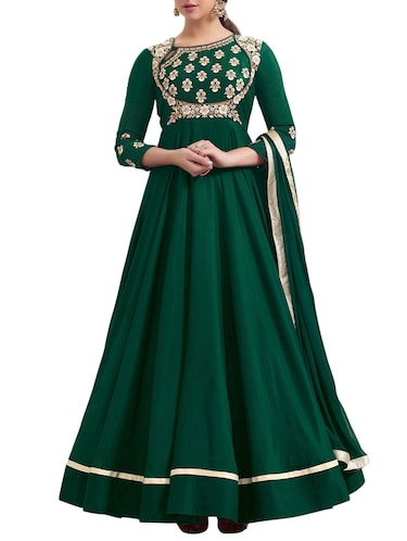 Embroidered semi-stitched flared suit - 15414339 - Standard Image - 1