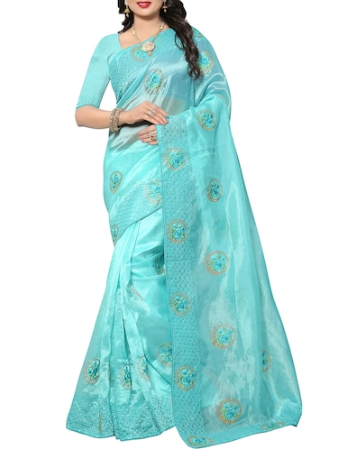 floral resham embroidered saree with blouse - 15414400 - Standard Image - 1