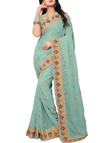 floral border zari embroidered saree with blouse - 15414404 - Standard Image - 1
