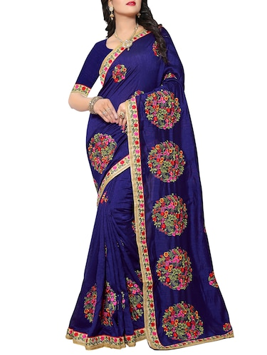 floral resham embroidered saree with blouse - 15414409 - Standard Image - 1